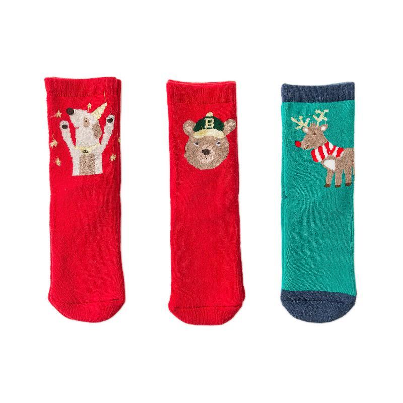 Caramella 焦糖玛奇朵 562743 圣诞组合儿童毛圈袜 3双装