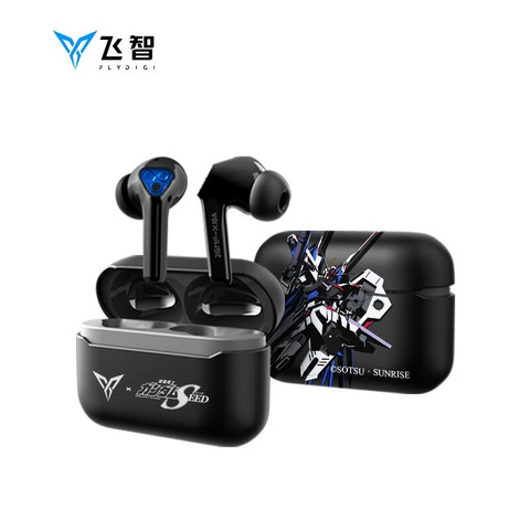 飞智(flydigi) 银狐T1低延迟真无线蓝牙耳机降噪入耳式音乐游戏运动跑步耳麦超长待机续航 高达限量版