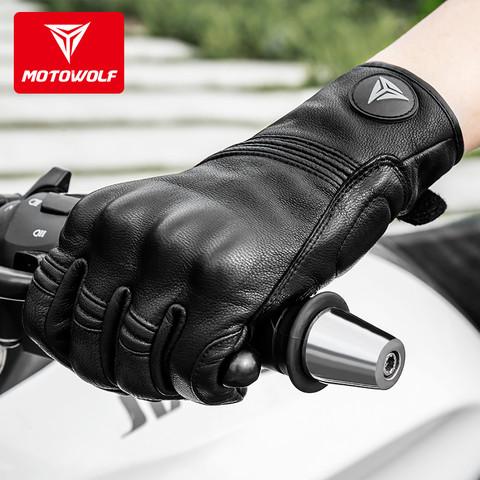 四季摩托车骑士真皮手套复古机车骑行装备防摔透气冬季保暖全指男 *4件