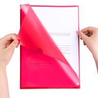 fizz彩色學生用l型文件夾透明辦公用品L型10只裝加厚PP文件套文件袋