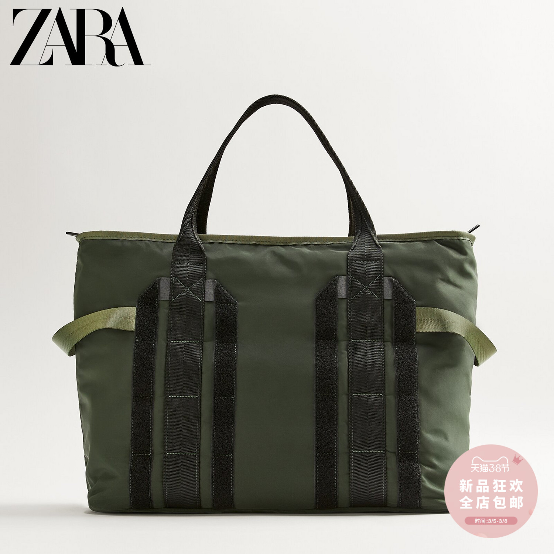 ZARA 新款 男包 卡其綠色科技面料運動健身保齡球包 13113720032