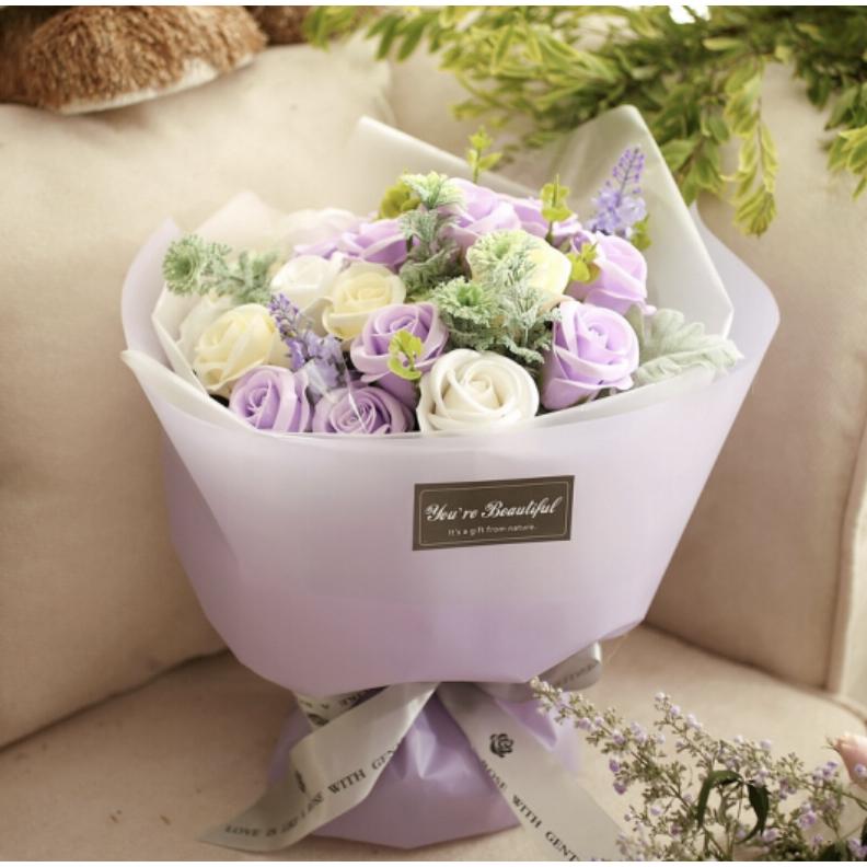京东PLUS会员 : I'M HUAHUA 21朵紫色玫瑰花香皂花