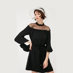 ONLY 119207574 女士黑色蕾丝宽松连衣裙