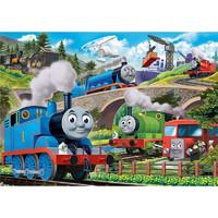 成人1000片木質拼圖500兒童益智力玩具送男孩小女生日禮物卡通小火車托馬斯小馬寶莉我的小馬駒 托馬斯合集(配大圖紙) 300片木質分區