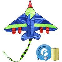 天堂鸟 儿童风筝 1.5米战斗机蓝带彩尾+18轮300线