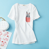拉夏贝尔旗下女款休闲简约百搭舒适圆领套头基础可爱绣花短袖T恤