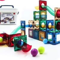 天才小鬼 磁力片拼裝磁鐵立體拼插玩具75片盒裝