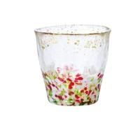 ADERIA日本石冢硝子津轻玻璃杯办公室水杯手工锤纹金箔茶酒杯礼物