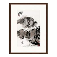 水墨画《沧江风帆》朱屺瞻 背景墙装饰画挂画 茶褐色 74×99cm