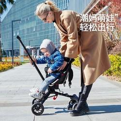 weierbaby遛娃神器儿童推车轻便折叠双向溜娃车孩子小推车 曜石黑
