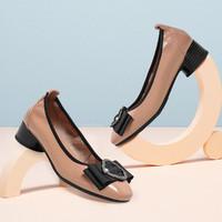 Teenmix/天美意 秋商场同款蝴蝶结粗跟妈妈鞋牛皮革女单鞋皮鞋女