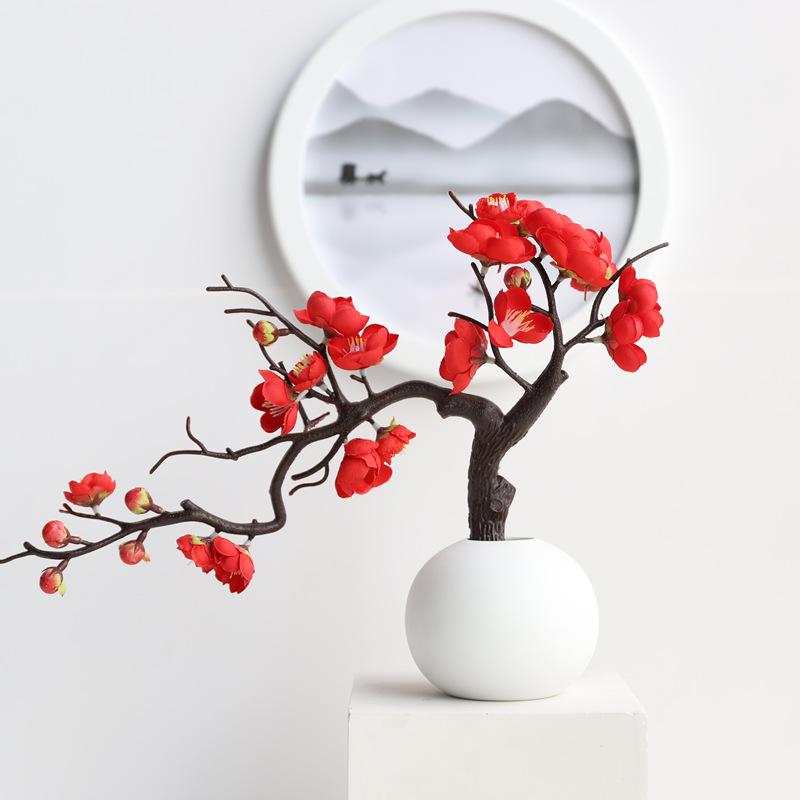 捷花 中式玄关仿真梅花摆件 一剪梅(大红)+圆花瓶