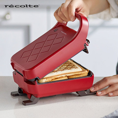 日本丽克特(recolte)厚夹三明治机早餐机加厚封边煎饼机烤面包加深电饼铛家用吐司机电煎锅 升级版-复古红