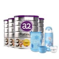 a2 艾尔 婴幼儿配方奶粉 3段 900g*4罐+冰雪奇缘保温杯*1