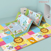 INSAHO 爬行垫婴儿宝宝爬爬垫泡沫地垫加厚可折叠双面可用防滑游戏毯 粉猴象乐园(折叠式) 200*150*1.5cm *3件