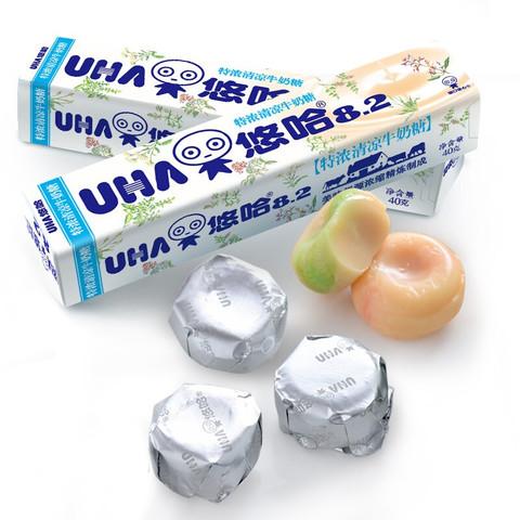 UHA悠哈 特浓抹茶牛奶糖 40g条装10粒 悠哈味觉糖抹茶味奶糖8.2喜糖奶糖硬糖儿童小零食 清凉味(10粒/条) *6件