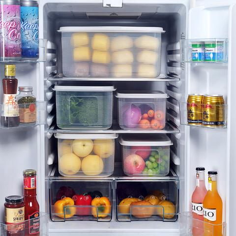 百露大容量冰箱食品收纳盒厨房塑料冷冻储物蔬菜保鲜盒密封长方形带盖 大号单个 *4件