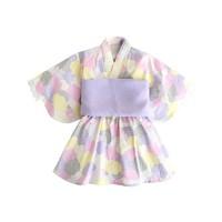 Augelute 春夏宝宝儿童日系风和服印花图案浴衣洋装女童连衣裙2-7岁