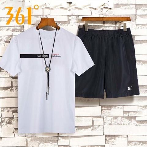 361男装运动套装夏季新款正品圆领棉t恤衫舒适透气休闲速干五分裤