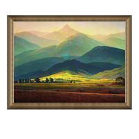 欧式大卫名人油画《巨人山》装饰画挂画  典雅栗73×56cm