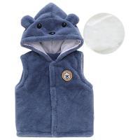 靚仔猴 兒童夾棉厚款馬甲 藍色小熊 73cm