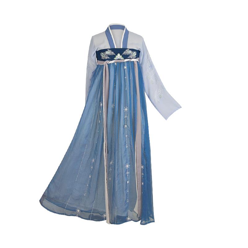 梨花渡 汉服 青鸾语 女士齐胸襦裙 GQX021 蓝色 XS