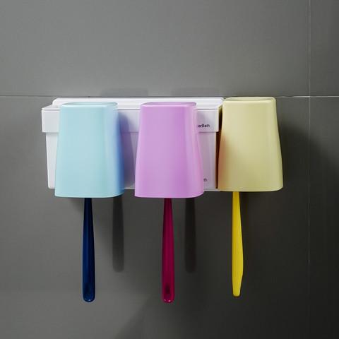 嘉宝牙刷置物架吸壁式卫生间免打孔牙杯架壁挂漱口杯套装牙具 马卡龙—三口之家