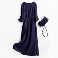 拉夏贝尔旗下女装新款雪纺下摆开叉圆领七分袖连衣裙
