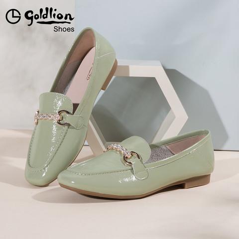 金利来女鞋2021春季新款简约懒人一脚蹬真皮平底单鞋女软皮乐福鞋 绿色 34