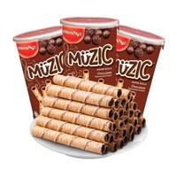 马奇新新巧克力注芯蛋卷饼干85g*3罐+ 福事多酸奶果粒烘培麦片500g