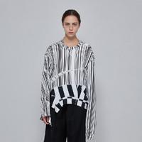 JNBY/江南布衣 条纹拼接撞色不规则长袖卫衣