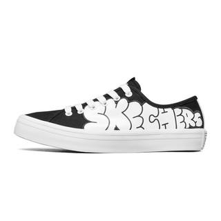 SKECHERS 斯凯奇 STREET系列 Jeremyville联名款 女子运动帆布鞋 66666301-BKW 黑色/白色 37