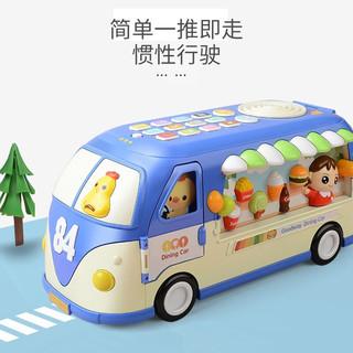 谷雨早教机宝贝巴士餐车中英双语字母学习宝宝玩具婴幼儿童男孩女孩玩具车 GY-8884谷雨早教机巴士餐车(蓝色)