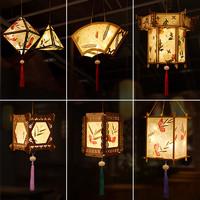 元宵節古風花草紙燈籠diy仿創意兒童手提宮燈材料包發光漢服裝飾