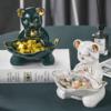 Hoatai Ceramic 华达泰陶瓷 现代轻奢收纳摆件 墨绿叶子熊