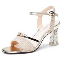 歐儀涼鞋中跟水鉆百搭一字帶女鞋