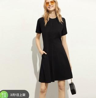 AMII 121600160100 女士修身纯色短袖连衣裙