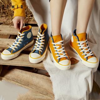 Semir帆布鞋女高帮鞋子2021年春季新款休闲鞋时尚潮鞋增高帆布鞋