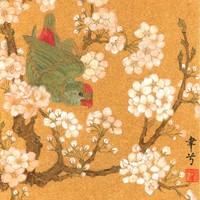 艺术品:【朵云字画】胡韶光 海派花鸟小品金笺卡纸 字画书画收藏馈赠