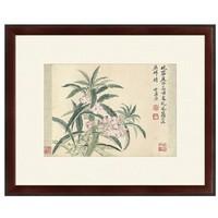 水墨画《海棠图》恽寿平 背景墙装饰画挂画 茶褐色 59×48cm