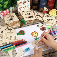 万代斗智 宝宝画画涂鸦工具 升级装(56张木质模板+56张芯片+12支彩芯)