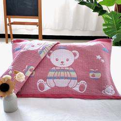 柳庭家纺 枕巾纯棉小号一对 卡通儿童纱布枕头巾全棉 9号熊 32*52cm