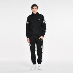 热销爆款男款拉链拼色炫彩反光运动套装