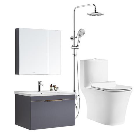 惠达(HUIDA)卫浴抽水马桶坐便器实木浴室柜淋浴花洒组合套装 1381-80