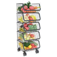 榮事達廚房置物架落地多層蔬菜水果收納筐菜籃子儲物架子帶輪家用