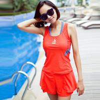 三奇游泳衣女士運動分體式平角褲保守新款兩件套顯瘦遮肚大碼泳裝