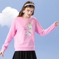 拉夏贝尔旗下女款时尚圆领卫衣字母印花卡通人物套头卫衣上衣