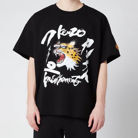 Kenzo 男士虎头字母印花T恤 黑色