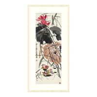 古典花卉国画水墨画齐白石名画《荷塘鸳鸯图》77×160cm