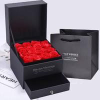 青葦 新年春節禮物盒 情人節玫瑰禮物盒 仿真花 求婚生日禮物 女朋友 紅玫瑰首飾盒(含禮品袋) *2件